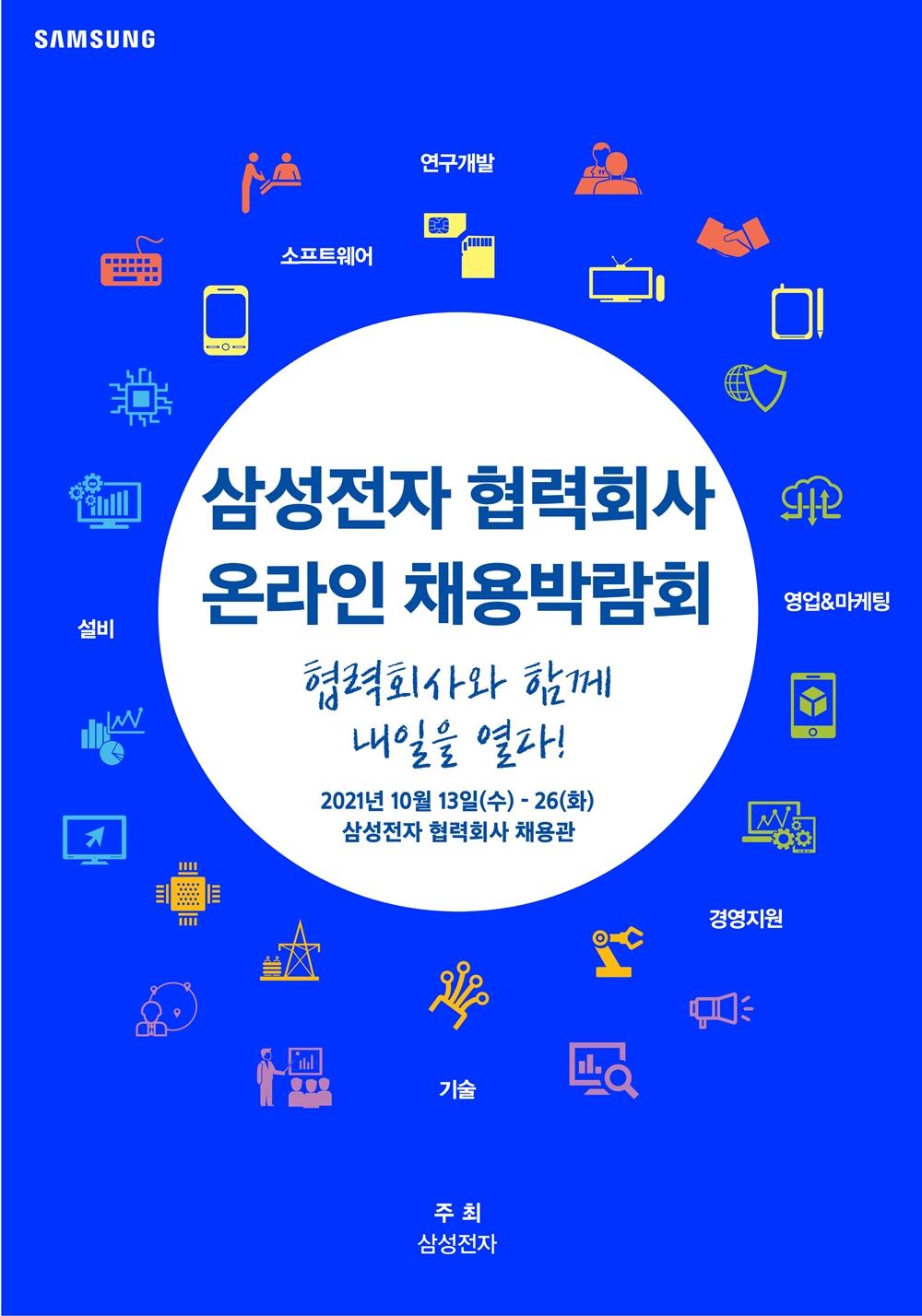 삼성전자 협력회사 온라인 채용박람회 협력회사와 함께 내일을 열라! 2021년 10월 13일(수)~26(화) 삼성 협력회사 채용관