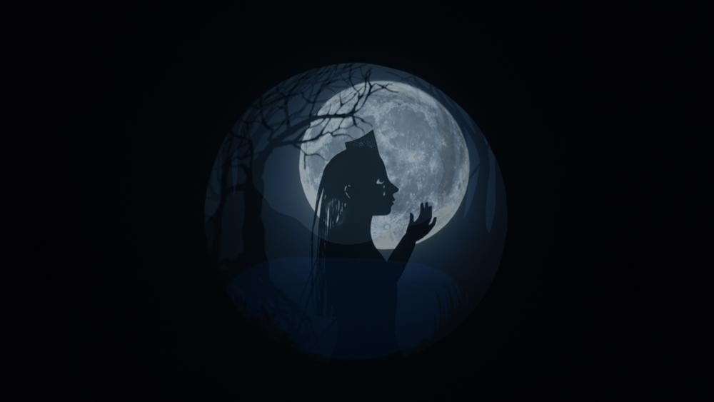 달에 그림자가 비친 모습